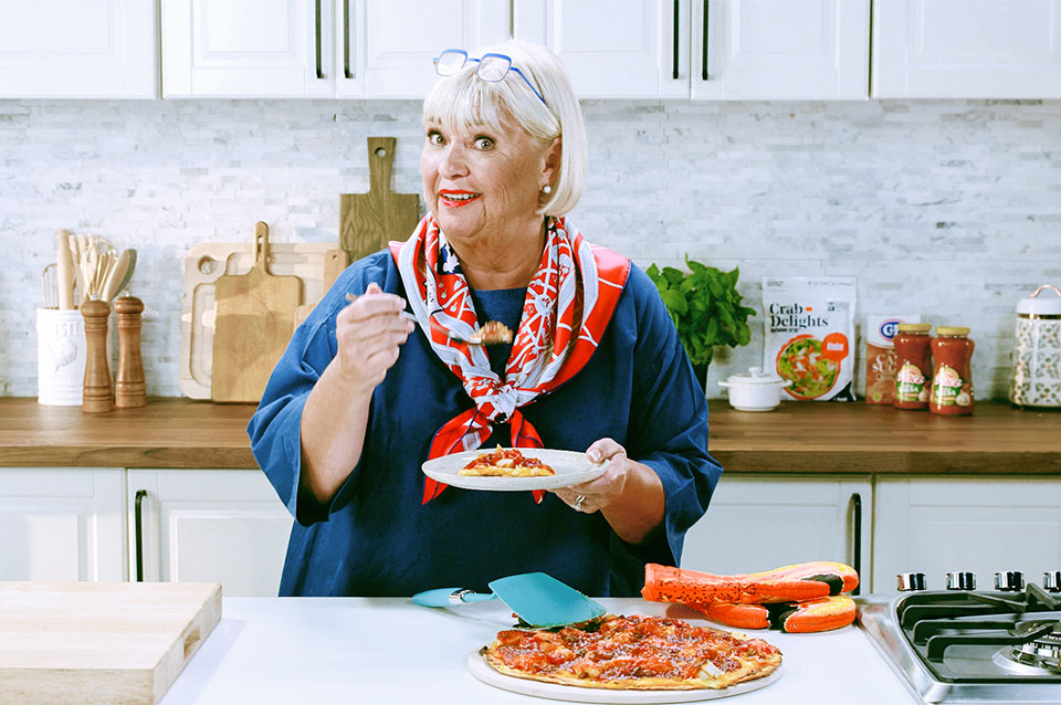 Nancy Fuller's Red, White, and BBQ pizza with Louis Kemp Drab Delights