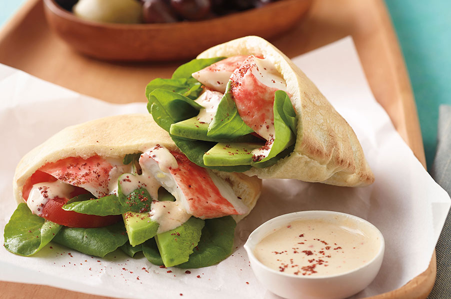 Seafood Pitas with Tahini Dressing